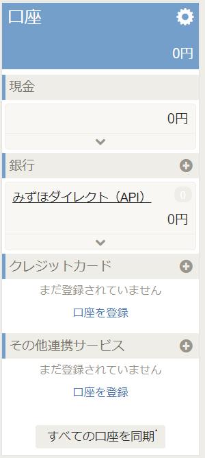 freeeのトップ画面左でみずほダイレクトが登録された画像